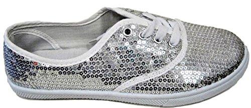 Cammie W1412 Femmes Mode Paillettes Sparkle Lace Up Tennis Espadrilles Chaussures De Sport Appartements Argent Argent