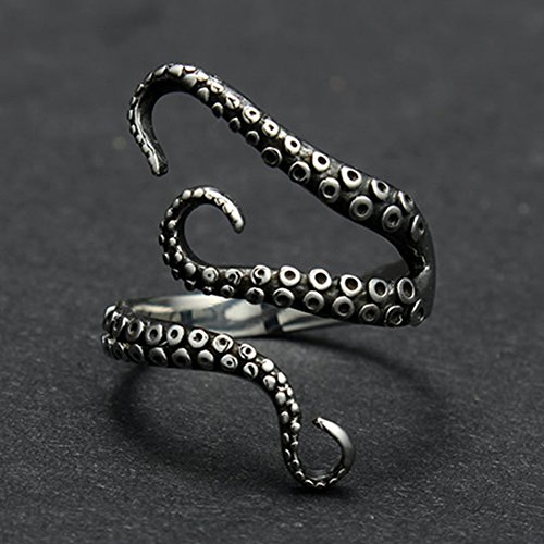 Vintage Titanium Steel Octopus Sea Monster Squid Kraken Punk Antique Ring Retro By PaPa's - A Kraken