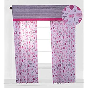 Bacati Owls Girls Cotton 2 Pack Curtain Panels, Pink/Grey
