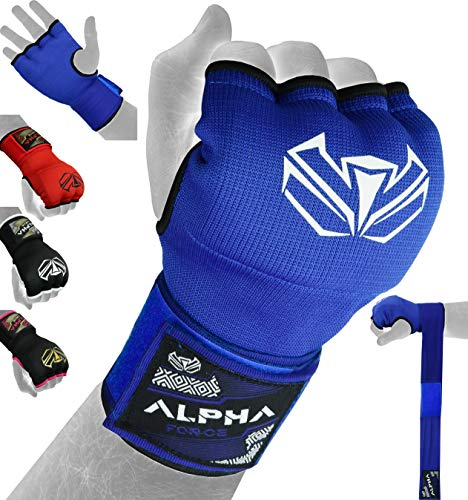 ALPHA FORCE Hand Wraps Inner Boxing Gloves Gel Mitts MMA Martial Arts MMA Fist Protector Bandages Mitts (Blue, Large)