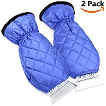 2 Pack Ice Scraper Mitts EZYKOO Waterproof Window/ Windshield Snow Scraper with Glove Snow Ice Scraper for Car Truck-Blue