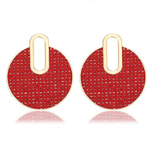 JYM JEWELRY Women Statement Drop Dangle Earrings Round Rattan Earrings Handmade Weave Wicker Straw Drop Earrings Plaid Earrings for Show ()