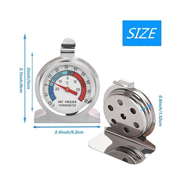 Thlevel Termometro da Frigo in Acciaio INOX Termometro per Congelatore e Frigorifero con Gancio per Appendere per Casa… 3