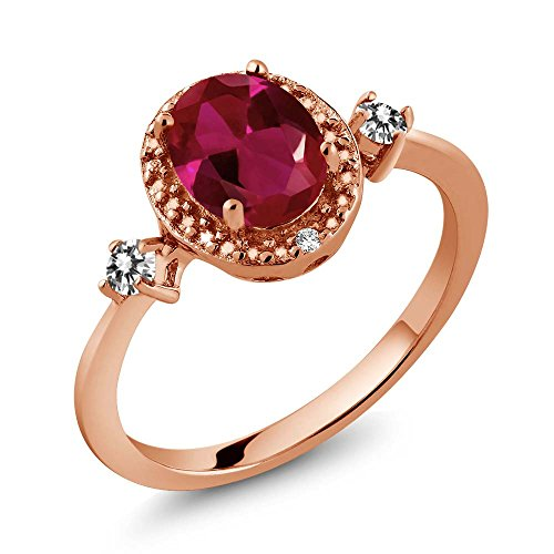 1.29 Ct Oval Diamond (1.29 Ct Oval Red Created Ruby White Diamond 18K Rose Gold Plated Silver Ring With Accent Diamond)