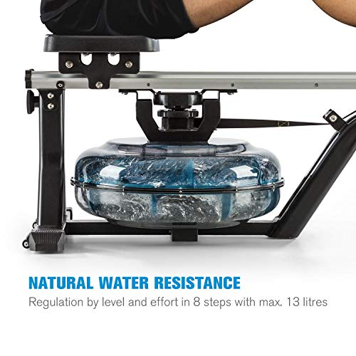 Capital-Sports-Flow-M-Water-Rowing-Machine-Rowing-Bench-Home-Training-Device-Compact-Even-Joint-Gentle-Training-80-cm-Long-Slide-Water-Resistance-BlackSilver