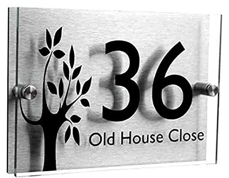 Designer 2 Part Acrylic House Number Sign (Small Tree) Acrylic Master