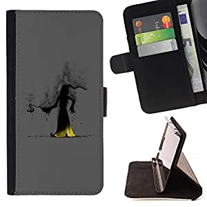 BullDog Case - FOR/Apple Iphone 5 / 5S / - / wizzard witch smoke hood fairytale story cartoon /- Monedero de cuero de la PU Llevar cubierta de la caja con el ID Credit Card Slots Flip funda de cuer