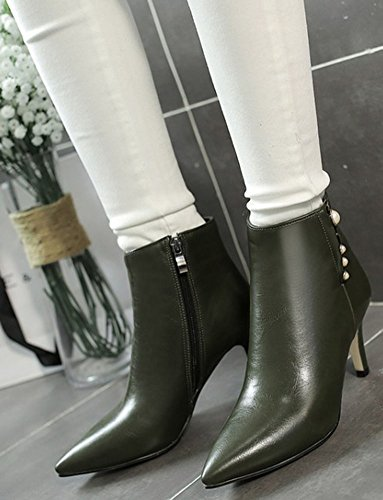 Zipper Army Fashion High Green Easemax Short Pointy Mid Ankle Booties Heeled Stiletto Toe Women's Side wtAqFO