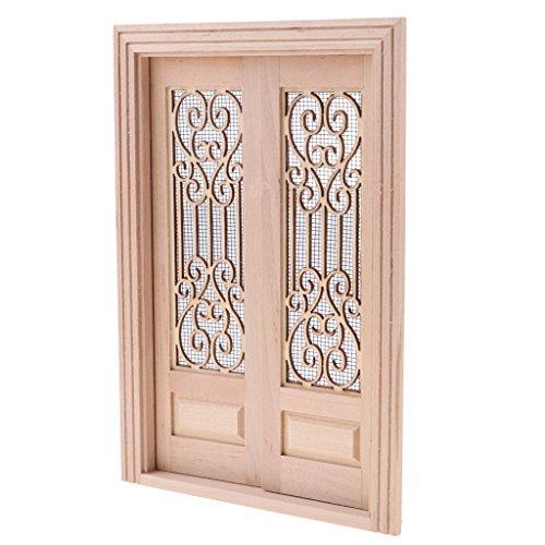Dollhouse Screen (Baoblaze Wood Miniature External Hollow Screen Double Door 1/12 Dollhouse DIY Decoration Accessories)