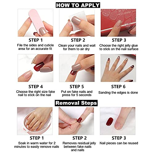 RikView Press on Nails Long Acrylic Nails Coffin Nails Nude Fake Nails Glossy Stick on Nails with Heart Design (Pattern : #1)