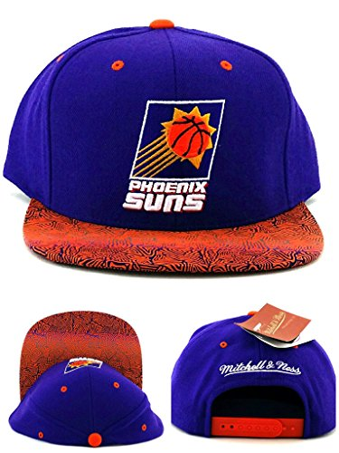 (Mitchell & Ness Phoenix Suns New Retro Logo Purple Orange Snapback Era Hat Cap)