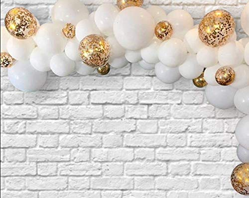 White and Gold Confetti Balloons 12inch 100Pcs Latex Party Balloons Helium Balloons Party Decoration Balloons Compatible Birthday Baby Shower Party - White,Gold Confetti Balloons by Brontothere ()