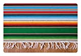 Lunarable Mexican Pet Mat for Food and Water, Boho Serape Blanket with Horizontal Stripes and Lines Authentic Cultures Picture, Rectangle Non-Slip Rubber Mat for Dogs and Cats, Multicolor Review