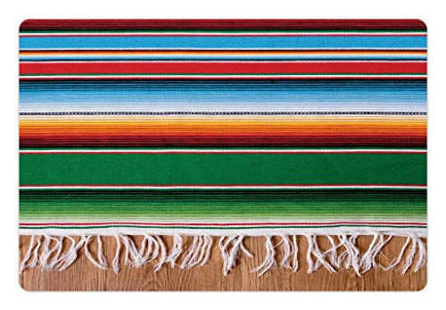 Lunarable Pet Mat for Food and Water, Rectangle Non-Slip Rubber Mat for Dogs and Cats, Colorful Boho Serape Pattern with Horizontal Stripes and Lines Cultures Picture, Green Red