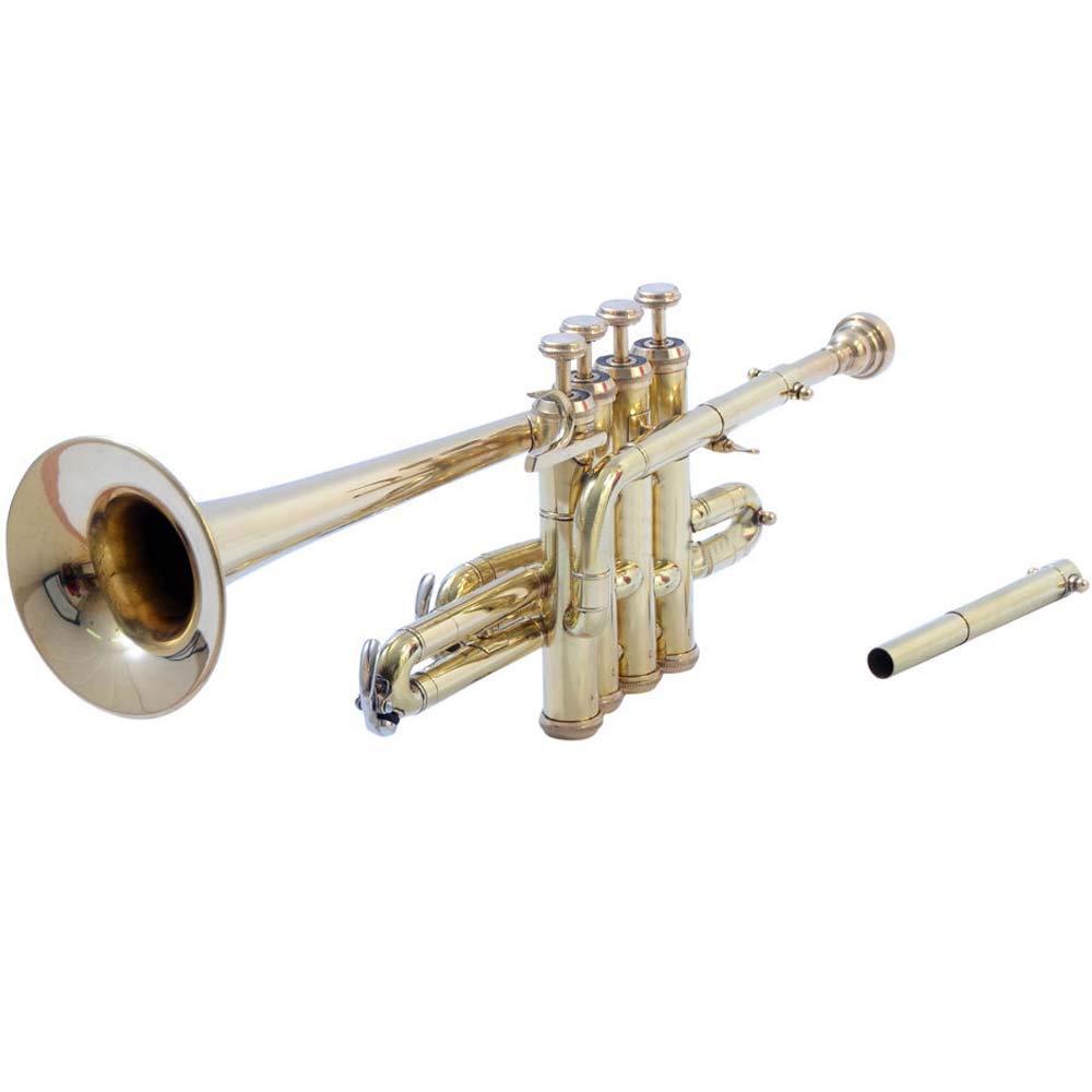 SHREYAS Brass Piccolo Trumpet Brass Finish Picollo Bb/A Pitch W/Case-Mp Gold VTR456