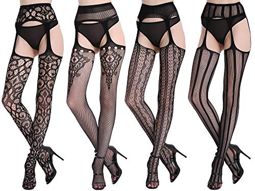 Womens Sexy Fishnet Tights Suspender Pantyhose Thigh-High Stockings Black Pattern 4 Pack