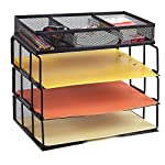 ProAid Mesh Office Desk Organizer 3-Tier Stackable Letter Tray Organizer Sorter with 3 Compartments, Black