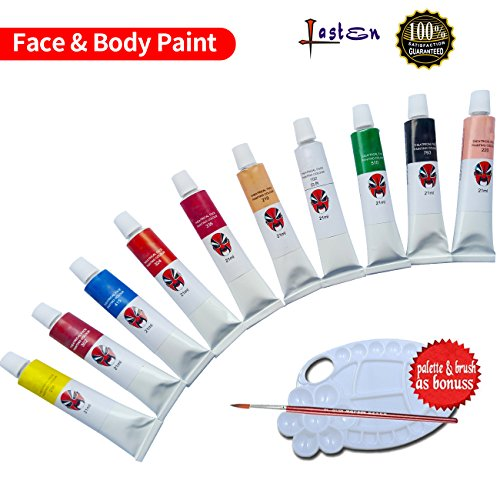 Lasten Face Paint Kit, Body Paint, Face Painting Kits, face and body paint for Kids & Adults Vibrant Water Based Painting Set Non-Toxic FDA Approved(10Pcs/Set) (Paint Face Halloween Ideas)