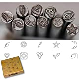 Kent Precision Design Metal Punch Stamp 10-Pieces Set: Leaves, Heart, Stars, Moon Crescent