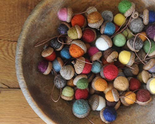Felted Wool Acorns OR Acorn Ornaments, You pick the Colors & Quantity, custom natural eco friendly ()