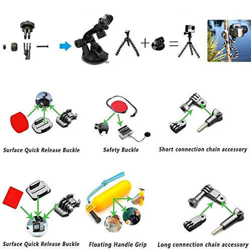 Rayhom Outdoor Sports Camera Accessory Kit For Gopro Hero Import It All