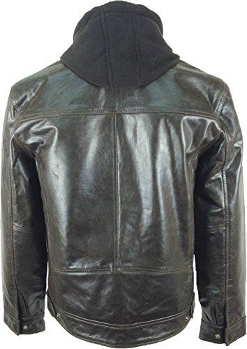 UNICORN Hommes Réel en cuir Veste Mode de à capuche Brun #K5