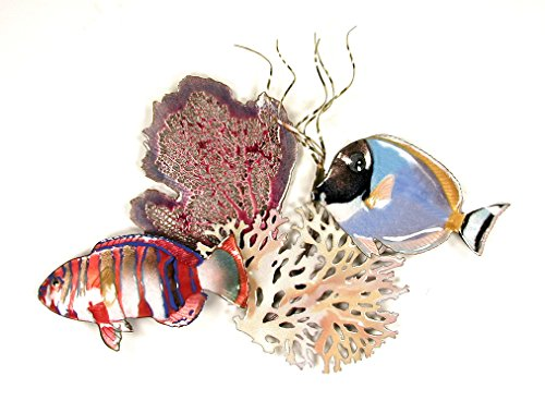 "Surgeon and Tusk Fish Coral, Enamel Glass Copper Metal Wall Art, Large Metal Wall Art in Modern Tropical Design, 3D Wall Art for Modern and Contemporary Décor, 16"" x 11"" made in New England"