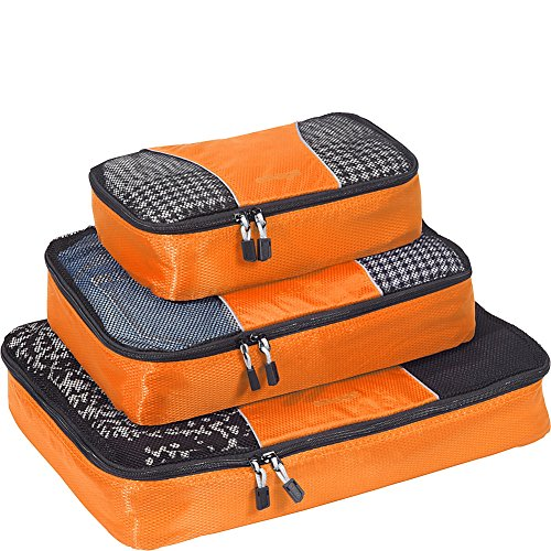 eBags Classic Packing Cubes for Travel - 3pc Set - (Tangerine)