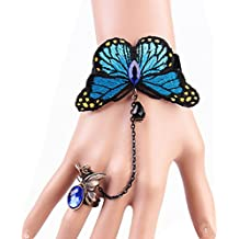 Bluelans® Women's Retro Butterfly Lace Slave Chain Link Finger Ring Bangle Hand Harness Bracelet (Blue)