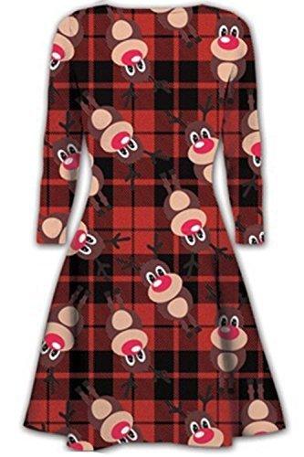 Oops Outlet - Vestido - para mujer Rudolph Tartán Rojo