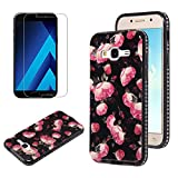 Flower Design Case for Samsung Galaxy J3 2016 J320 with Screen Protector, OYIME Vintage Floral Pattern Hard Plastic Back + Soft Silicone Glitter Rhinestones Frame 2 in 1 New Hybrid Black Cover Thin Slim Fit Protection Shockproof Scratch Resistant Shiny Bling Bumper - Wild Rose