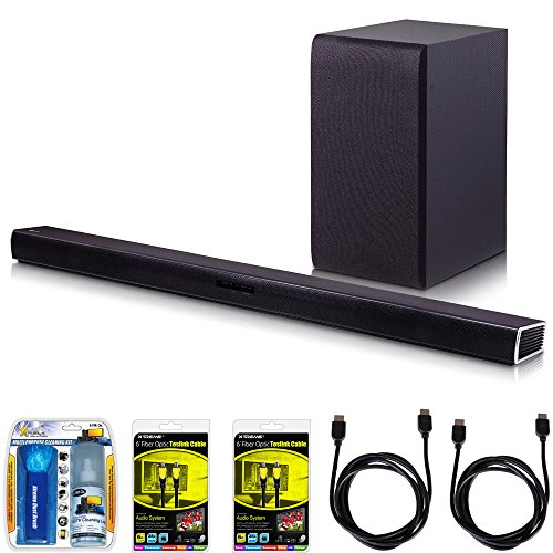 LG SH4 2.1ch 300W Sound Bar with Wireless Subwoofer + Bluetooth Connectivity Bundle includes Sound Bar with Subwoofer, (Optical Audio Cable Lg Tv)
