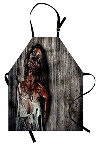 Ambesonne Zombie Apron, Angry Dead Woman Sacrifice Fantasy Design Mystic Night Halloween Image, Unisex Kitchen Bib Apron with Adjustable Neck for Cooking Baking Gardening, Dark Taupe Peach Red
