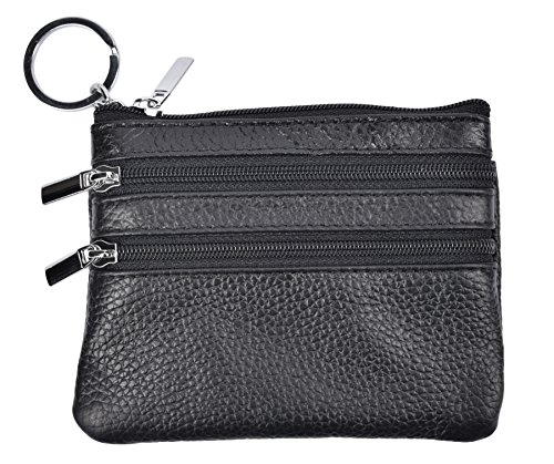 Yeeasy Womens Mini Coin Purse Wallet Genuine Leather Zipper Pouch with Key Ring (Black)