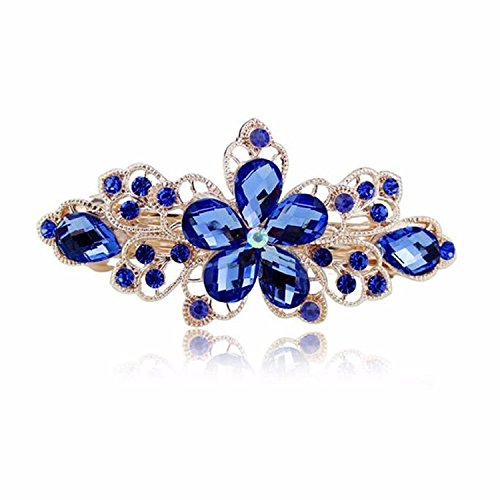 Sankuwen Flower Design Rhinestone Hairpin Clip Accessories (Dark Blue)
