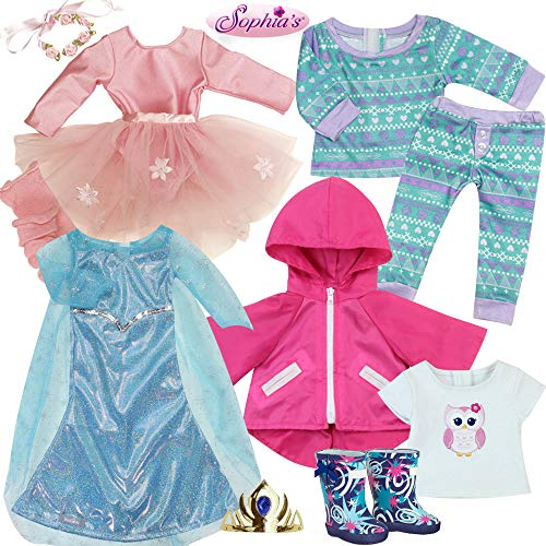 (Sophia's 11 Piece Set Includes 1 Ballet Set, 1 Costume Dress, 2 Shirts, 1 Jacket, 1 Pair of Pants, 1 Crown and 1 Pair Boots for 18 Inch Dolls)