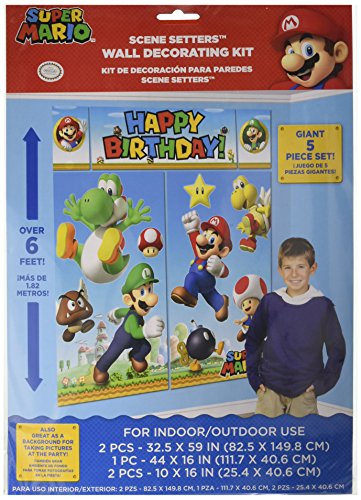 Amscan Super Mario Brothers Birthday Party 5-Piece Scene