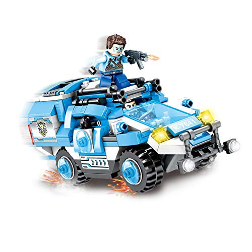 Yyz Police Series Thunder Warrior Armored Car Children's Puzzle Assembled Insert Small Particle Building Block Toys Birthday Gift