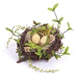 "Melrose 6"" Twig Bird Nest with Speckled Eggs and Foliage"