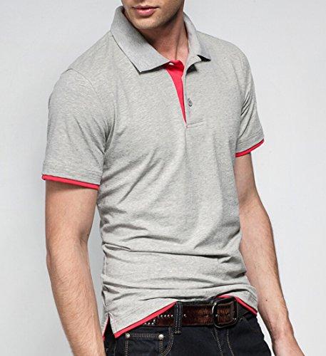 TM Men's Plain T-shirt Two tone Lapel Open collar Polo Shirts L Gray