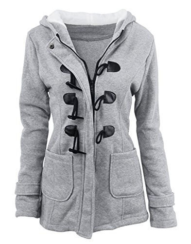 Cuerno YOGLY Grande Capucha de de Manga de Invierno Talla gris con de Abrigo Chaqueta Outwear con Abrigo Mujer Botones para Mujer Larga qgOHnwgEp