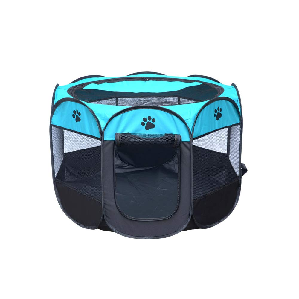 bluee SmallPortable Foldable Playpen,Easily Sets Up & Folds Down & Space Free,Multiple Sizes and colors Available for Dogs, Cats and Other Pets,Brown,M