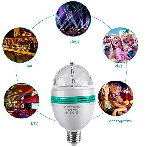 Blanco L/ámpara de luz de discoteca giratoria a todo color LED Bombilla de fiesta de 3 vatios de color cambiante autom/ática Base E27 para fiestas en el hogar El escenario