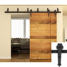 WINSOON 5FT Arrow Hanger Black Bracket Sliding Track Roller Double Bypass Barn Door Hardware Hanging Wooden Doors