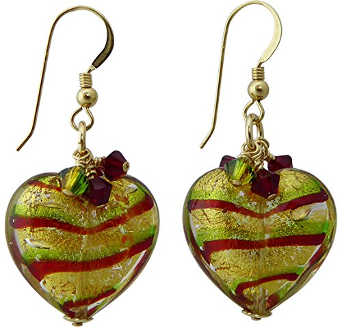 (Tigrato Stripes Green and Red Murano Glass Earrings with Swarovski Crystal)