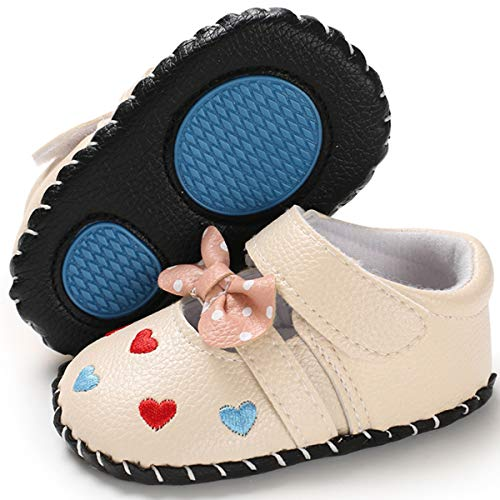 BENHERO Baby Girls Mary Jane Flats Bownot Soft Sole Toddler Infant First Walker Wedding Dress Princess Shoes (6-12 Months M US Infant), B-Beige