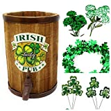 St. Patrick's Day Table Centerpiece Décor DIY (1) Tabletop Irish Beer Keg (1) Green Metallic Shamrock Garland (1) Shamrock Picks (2) Green and White Silk Carnations Bushes - Bundle of 5