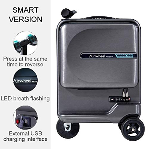 LZJZ Cabin Approved Smart Trolley Bag,Lightweight Hard Shell 3 Wheel Carry On Electric Hand Cabin Luggage Suitcase,20…
