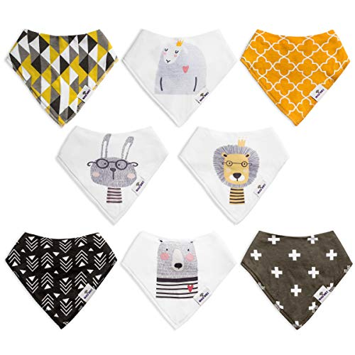 Baby Bandana Drool Bibs by Mad Bibz - 8-Pack - 100% Organic Cotton - Soft and Absorbent for Your Drooling or Teething Child - Unisex bib Set for Boys & Girls - Adjustable for Infants to Toddlers