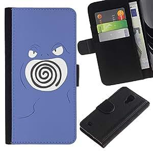Protector de cuero de la PU de la cubierta del estilo de la carpeta del tirón BY RAYDREAMMM - Samsung Galaxy S4 IV I9500 - Remolino púrpura de Poke Monster